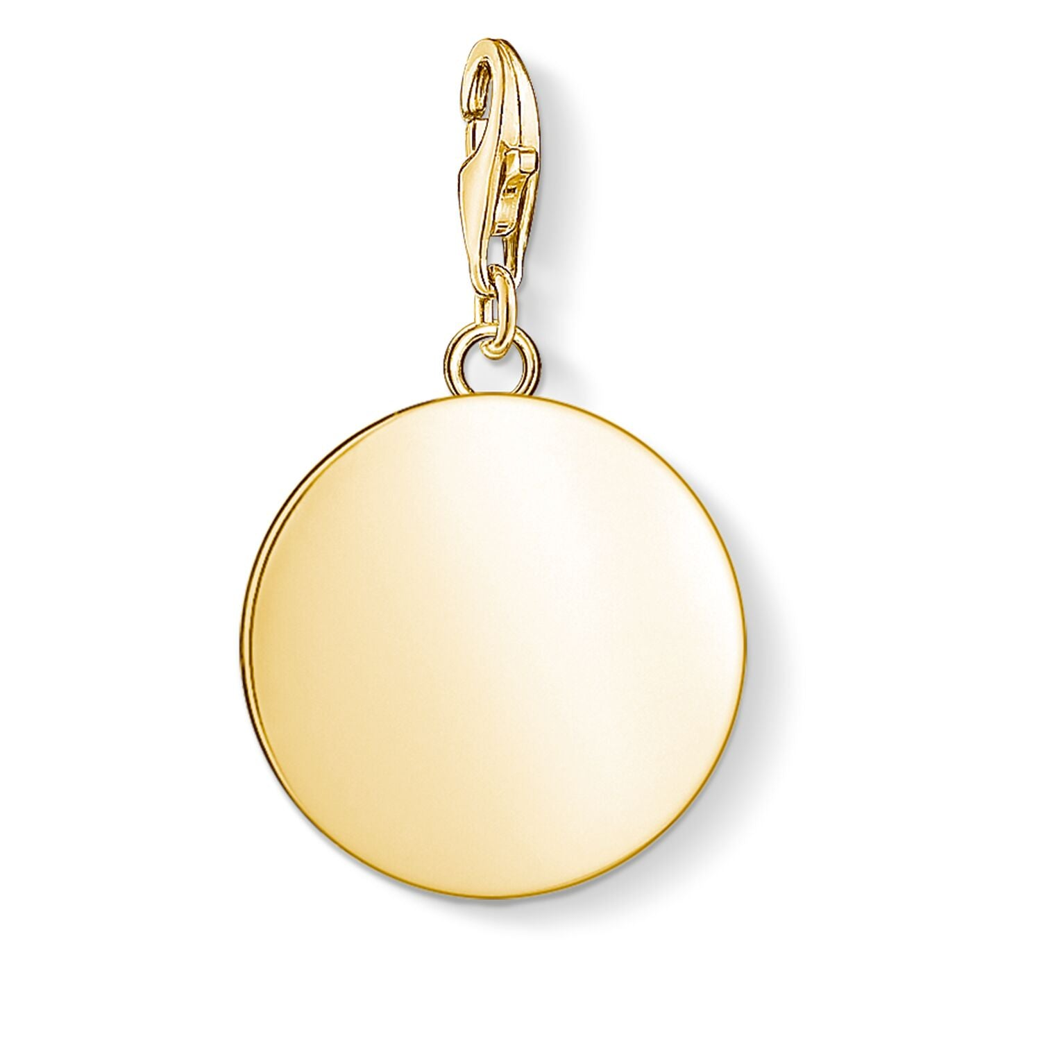 STERLING SILVER YELLOW GOLD PLATED C/CLUB ENGRAVABLE DISC CHARM