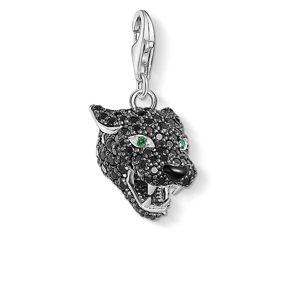 STERLING SILVER C/CLUB BLACK CZ CAT CHARM