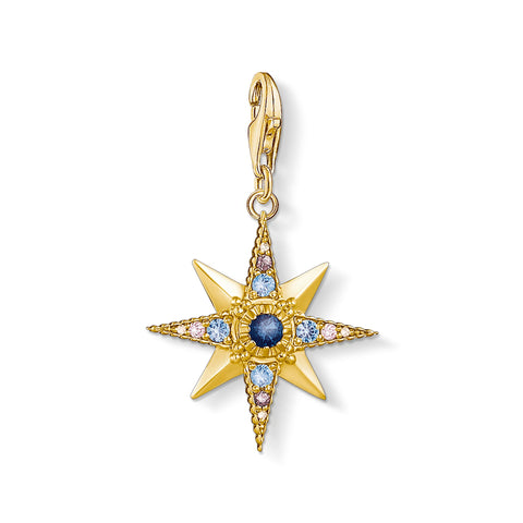STERLING SILVER YELLOW GOLD PLATED C/CLUB CZ STAR CHARM