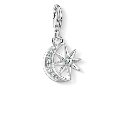 STERLING SILVER C/CLUB TO THE STARS & THE MOON CHARM