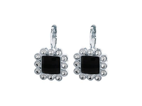 CHLOE SHINY SILVER BLACK EARRINGS