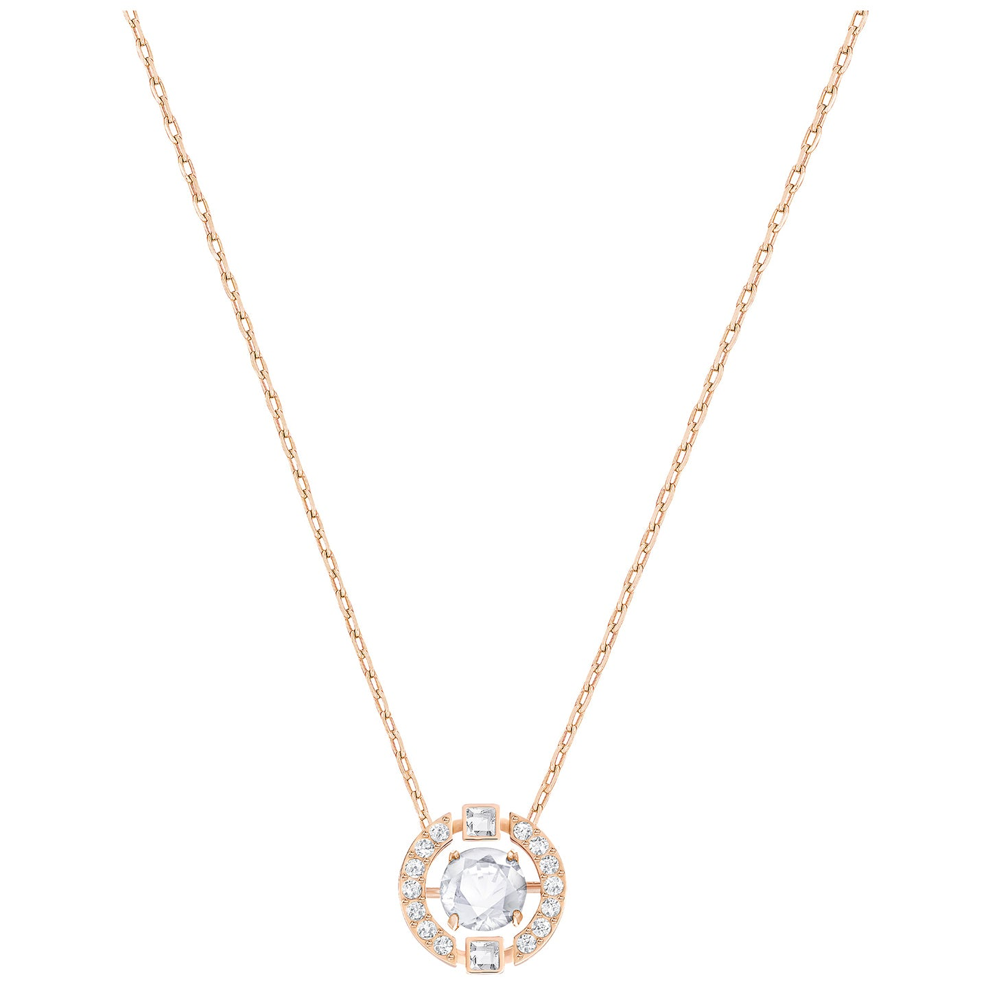 SPARKLING DANCE ROUND NECKLACE, WHITE, ROSE-GOLD PLATING