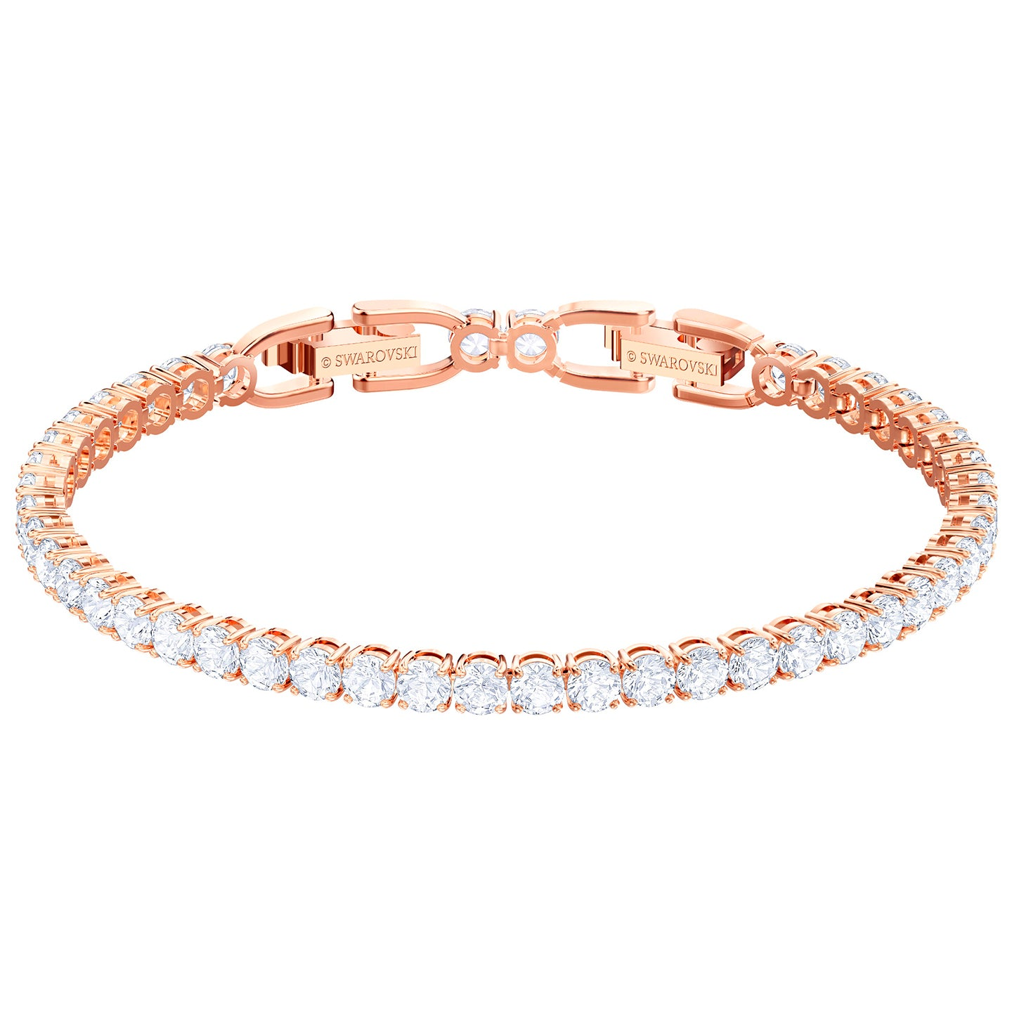 TENNIS BRACELET ROUND DELUXE, WHITE, ROSE-GOLD TONE PLATED