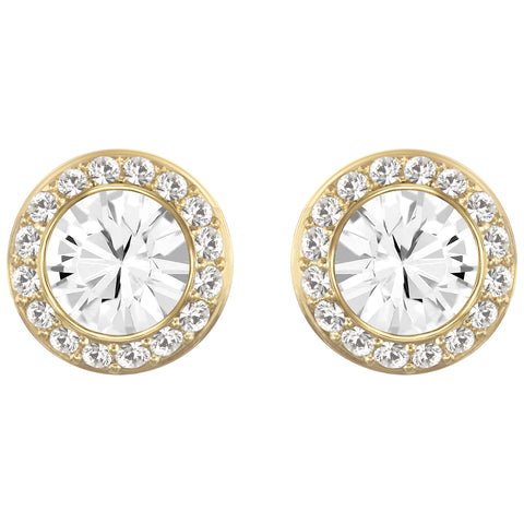ANGELIC ROUND STUD PIERCED EARRINGS, CRYSTAL, GOLD-TONE PLATED