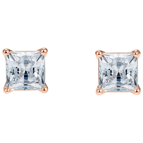 ATTRACT SQUARE PIERCED EARRINGS, WHITE, ROSE-GOLD TONE PLATED