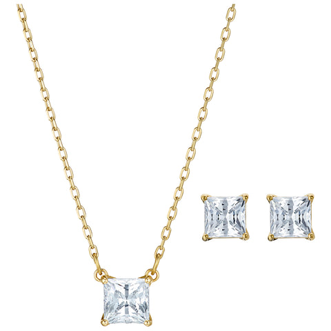 ATTRACT SQUARE SET, WHITE, GOLD-TONE PLATED