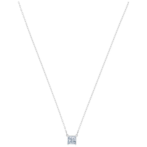 ATTRACT SQUARE NECKLACE, WHITE, RHODIUM PLATED
