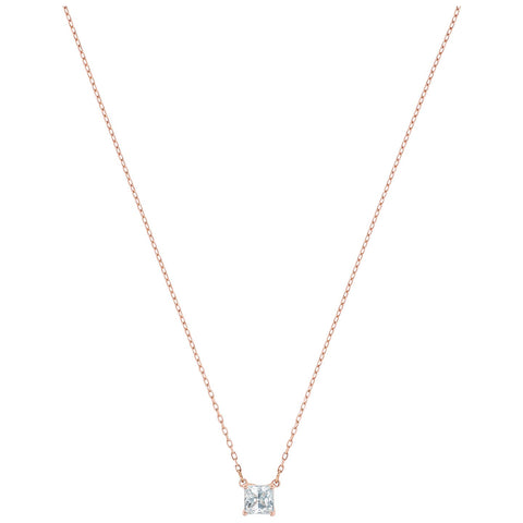 ATTRACT SQUARE NECKLACE, WHITE, ROSE-GOLD TONE PLATED
