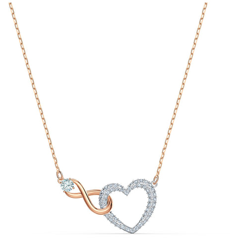 INFINITY HEART NECKLACE, WHITE, MIXED METAL FINISH