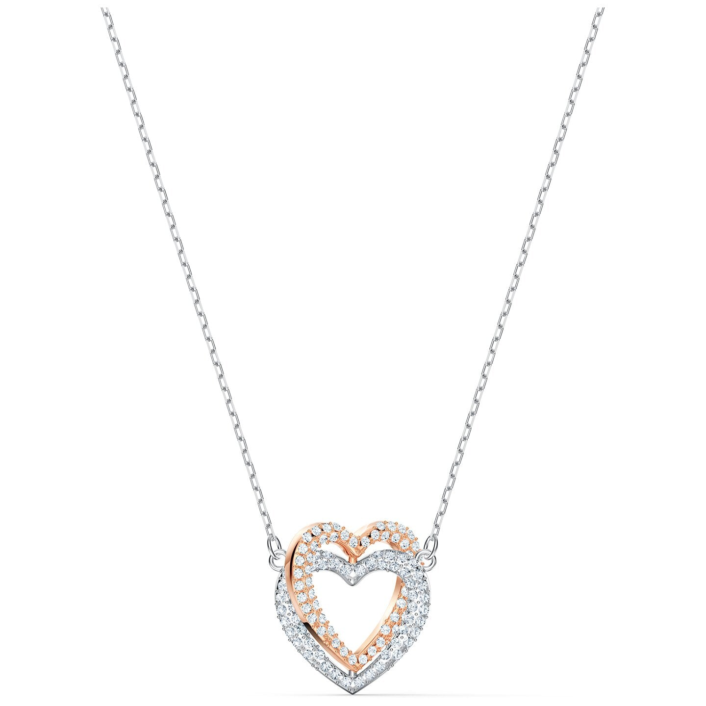 INFINITY DOUBLE HEART NECKLACE, WHITE, MIXED METAL FINISH