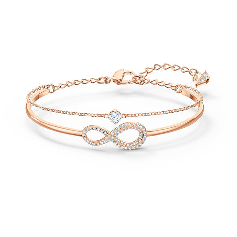 INFINITY BANGLE, WHITE, ROSE-GOLD TONE PLATED