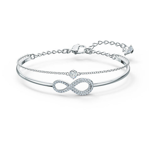 INFINITY BANGLE, WHITE, RHODIUM PLATED