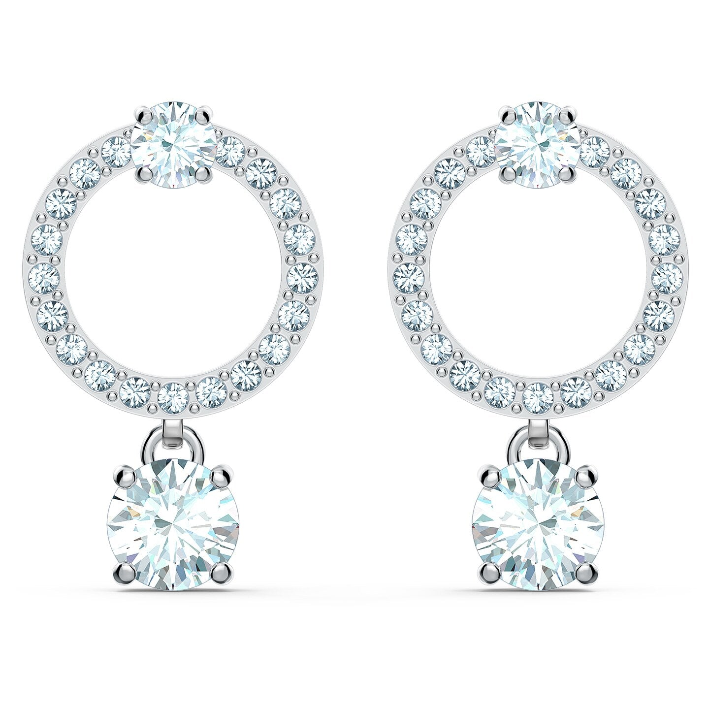 ATTRACT CIRCLE PIERCED EARRINGS, WHITE, RHODIUM PLATED