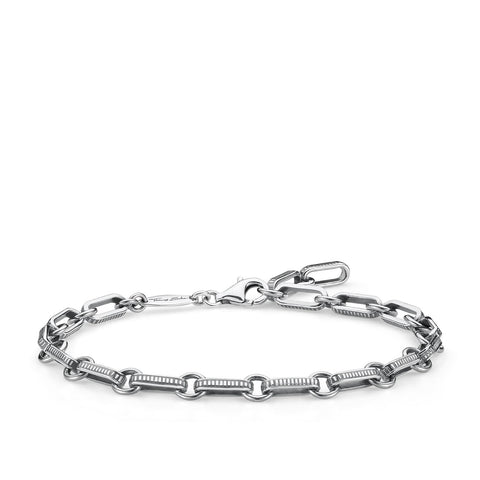 STERLING SILVER OXIDISED REBEL CHAIN BRACELET 16-20CM