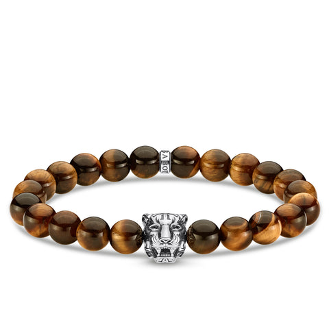 TIGERS EYE TIGER BEAD BRACELET 18CM
