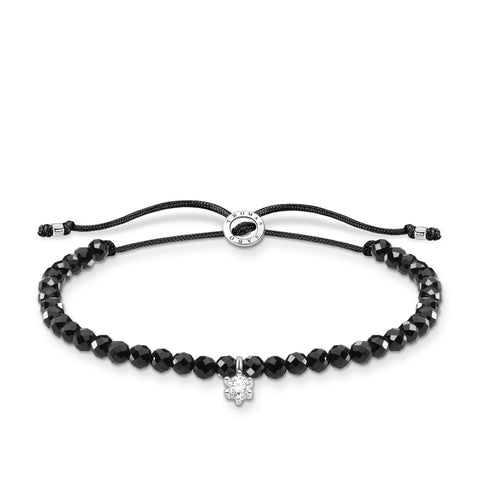 CHARMING COLLECTION ONYX BEAD CZ BRACELET 13-20CM