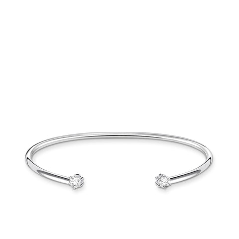 STERLING SILVER CHARMING COLLECTION TWIST CZ CUFF BANGLE 17.5CM