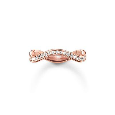 STERLING SILVER ROSE GOLD PLATED ETERNITY WAVE RING SIZE 52