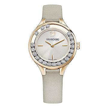 LOVELY CRYSTALS MINI WATCH, LEATHER STRAP, GREY, ROSE-GOLD TONE PVD