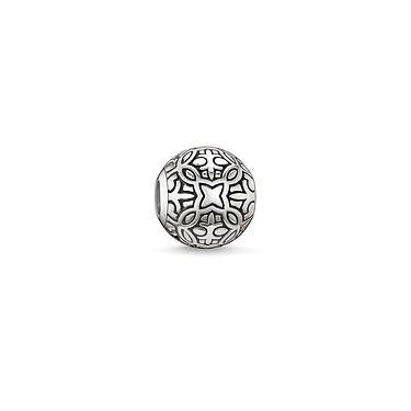 STERLING SILVER GOA GRAVED KARMA BEAD