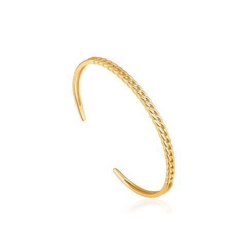 STERLING SILVER YELLOW GOLD PLATED CHAIN REACTION CURB CHAIN CUFF