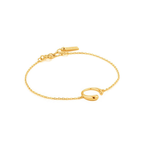 STERLING SILVER YELLOW GOLD PLATED LUXE MINIMALISM CURVE BRACELET