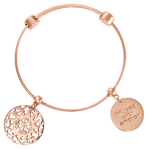 SEVENTEEN DIAMANTES ROSE GOLD PLATED BANGLE 19CM