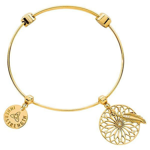 DREAMCATCHER GOLD PLATED BANGLE 19CM