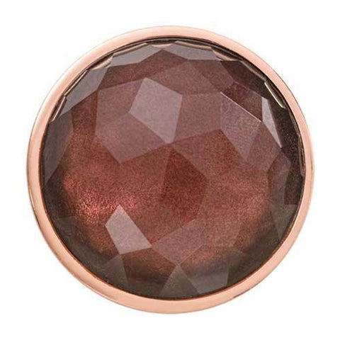 FACETED PURPLE OPTICAL GLASS ROSE GOLD PLATE 33MM COIN