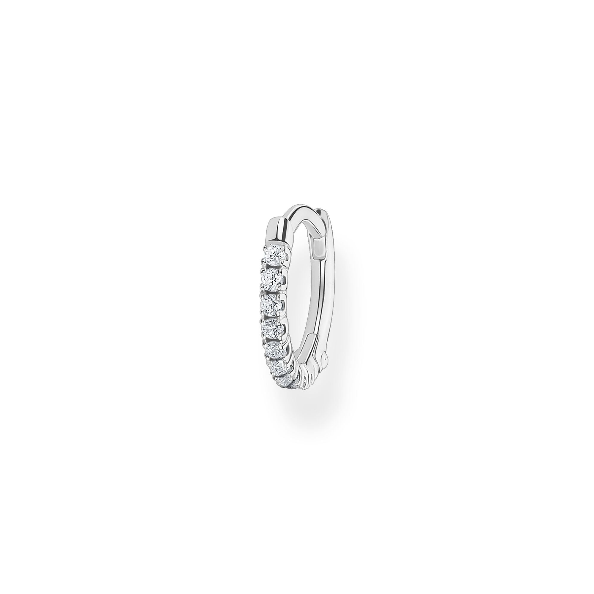 STERLING SILVER CHARMING COLLECTION 12MM CZ HOOP EARRING SINGLE