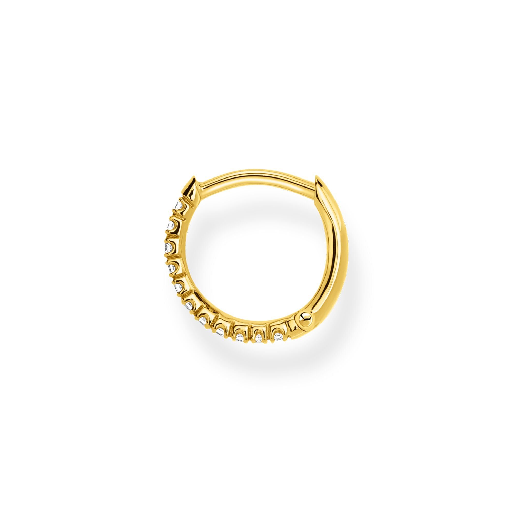 STERLING SILVER YELLOW GOLD PLATED CHARMING COLLECTION 13.5MM CZ HOOP EARRING SINGLE