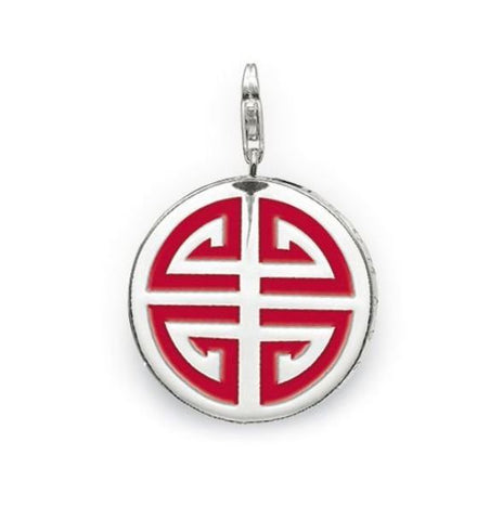 STERLING SILVER CHINESE BLESSING RED ENAMEL PENDANT