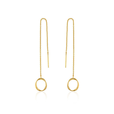 STERLING SILVER YELLOW GOLD TWISTER SWIRL THREADER EARRINGS