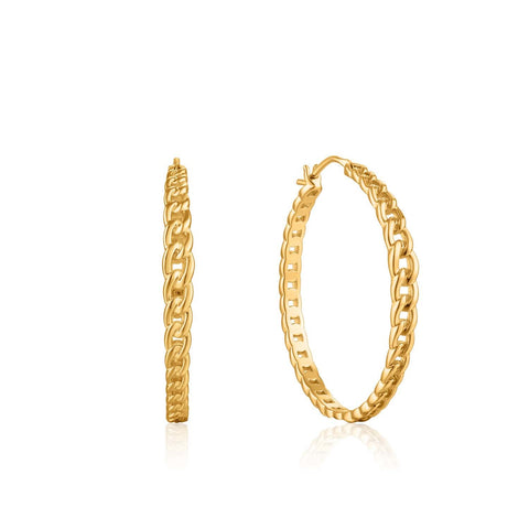 STERLING SILVER YELLOW GOLD PLATED CHAIN REACTION CURB CHAIN HOOP EARRINGS