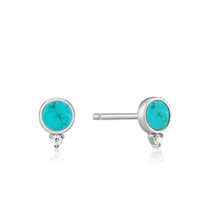 STERLING SILVER HIDDEN GEM TURQUOISE STUD EARRINGS