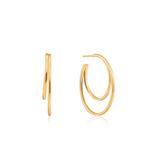 STERLING SILVER YELLOW GOLD PLATED EAR WE GO CRESCENT HOOP EARRINGS