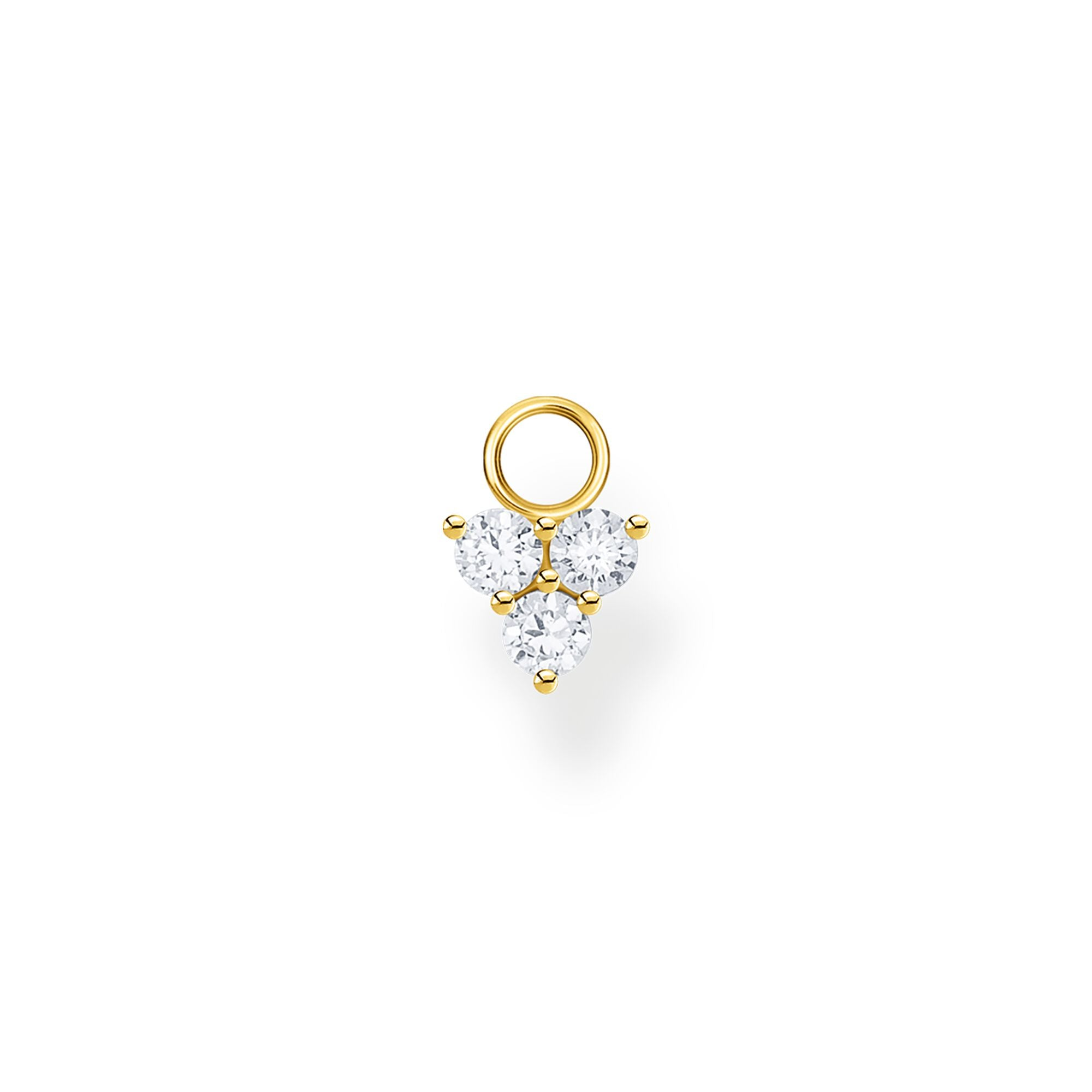 STERLING SILVER YELLOW GOLD PLATED CHARMING COLLECTION SINGLE CZ TRIANGLE EARRING PENDANT