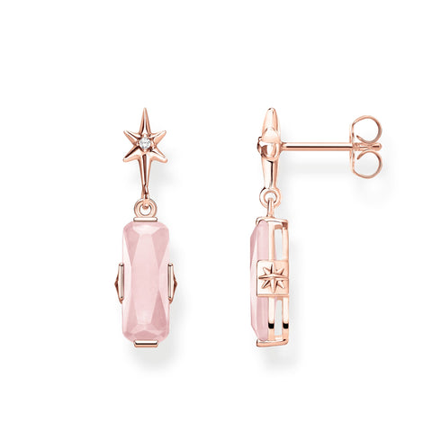 STERLING SILVER ROSE GOLD PLATED MAGIC STONES ROSE QUARTZ EARRINGS