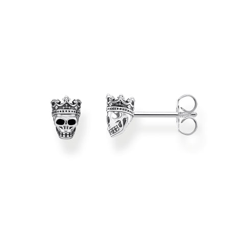 STERLING SILVER SKULL CROWN STUD EARRINGS