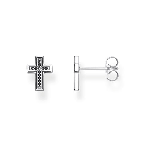 STERLING SILVER BLACK CZ CROSS STUD EARRINGS