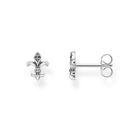 STERLING SILVER FLEUR DE LYS STUD EARRINGS