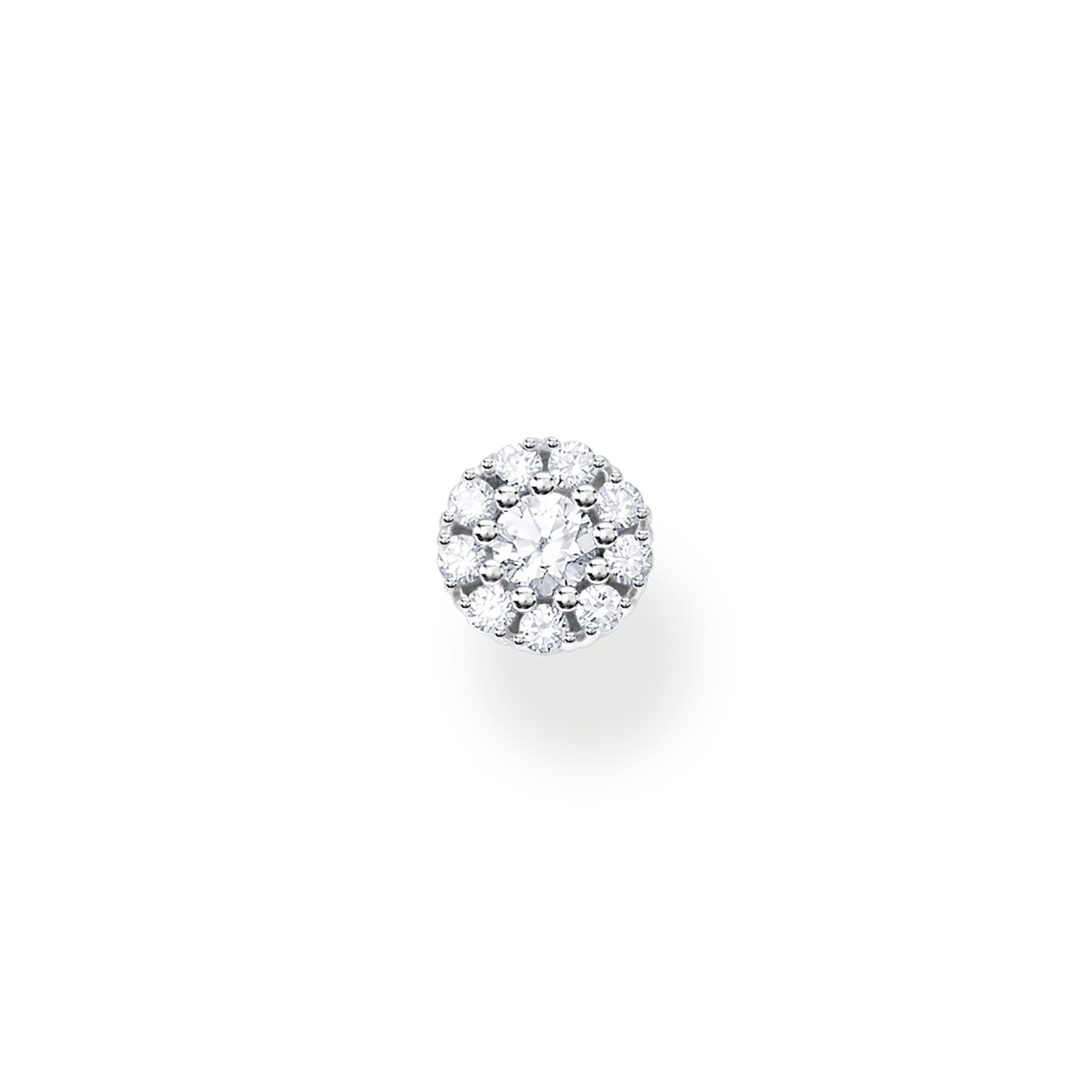 STERLING SILVER CHARMING COLLECTION ROUND CZ STUD EARRING SINGLE