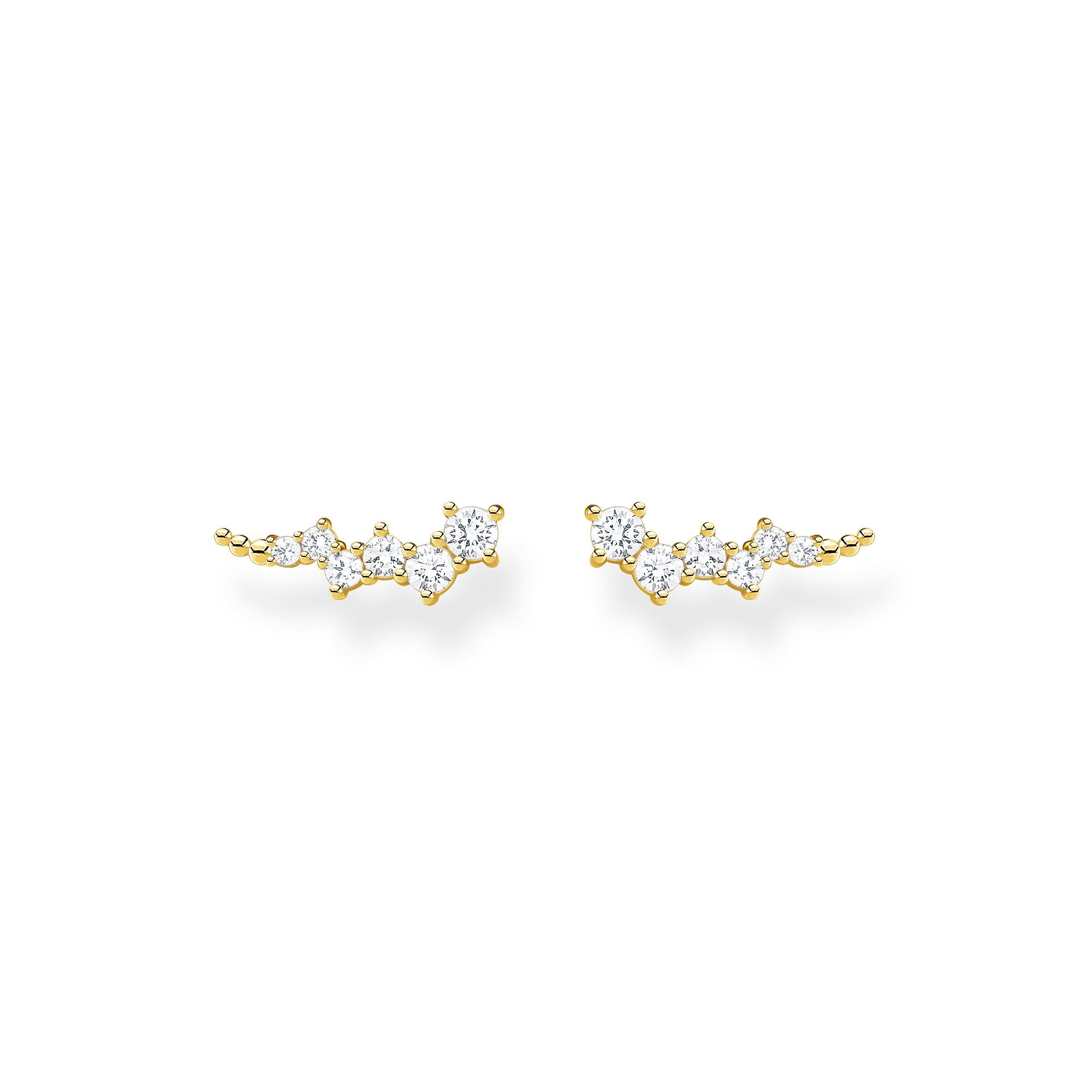 STERLING SILVER YELLOW GOLD PLATED CHARMING COLLECTION CZ STAR EAR CLIMBER EARRINGS