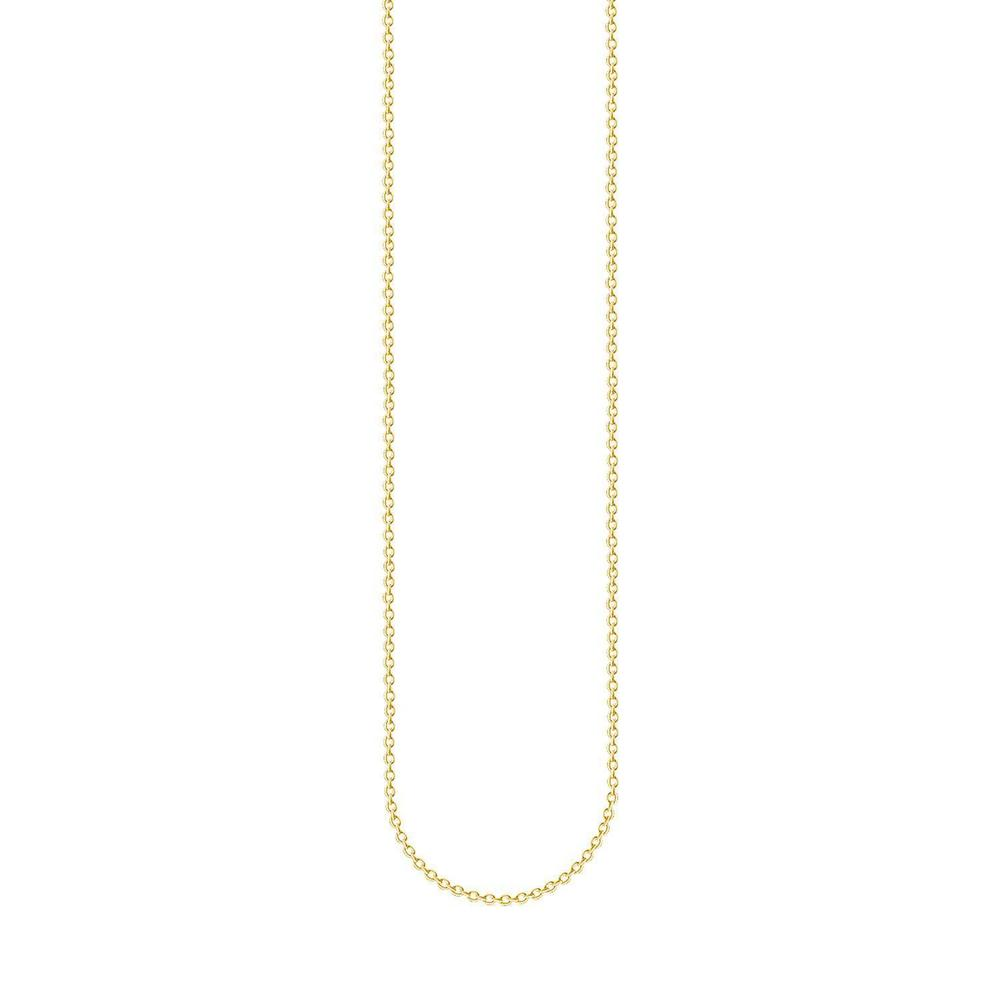 STERLING SILVER YELLOW GOLD PLATED SUPER FINE BELCHER CHAIN 70CM