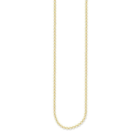 STERLING SILVER YELLOW GOLD PLATED ROUND BELCHER NECKLACE