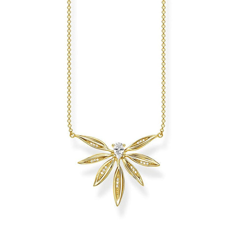 STERLING SILVER YELLOW GOLD PLATED MAGIC GARDEN SMALL LEAF NECKLACE