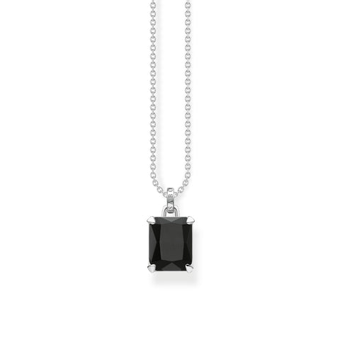 STERLING SILVER MAGIC STONES BLACK ONYX NECKLACE 40-45CM