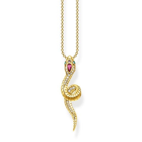 STERLING SILVER YELLOW GOLD PLATED MAGIC GARDEN SNAKE NECKLACE