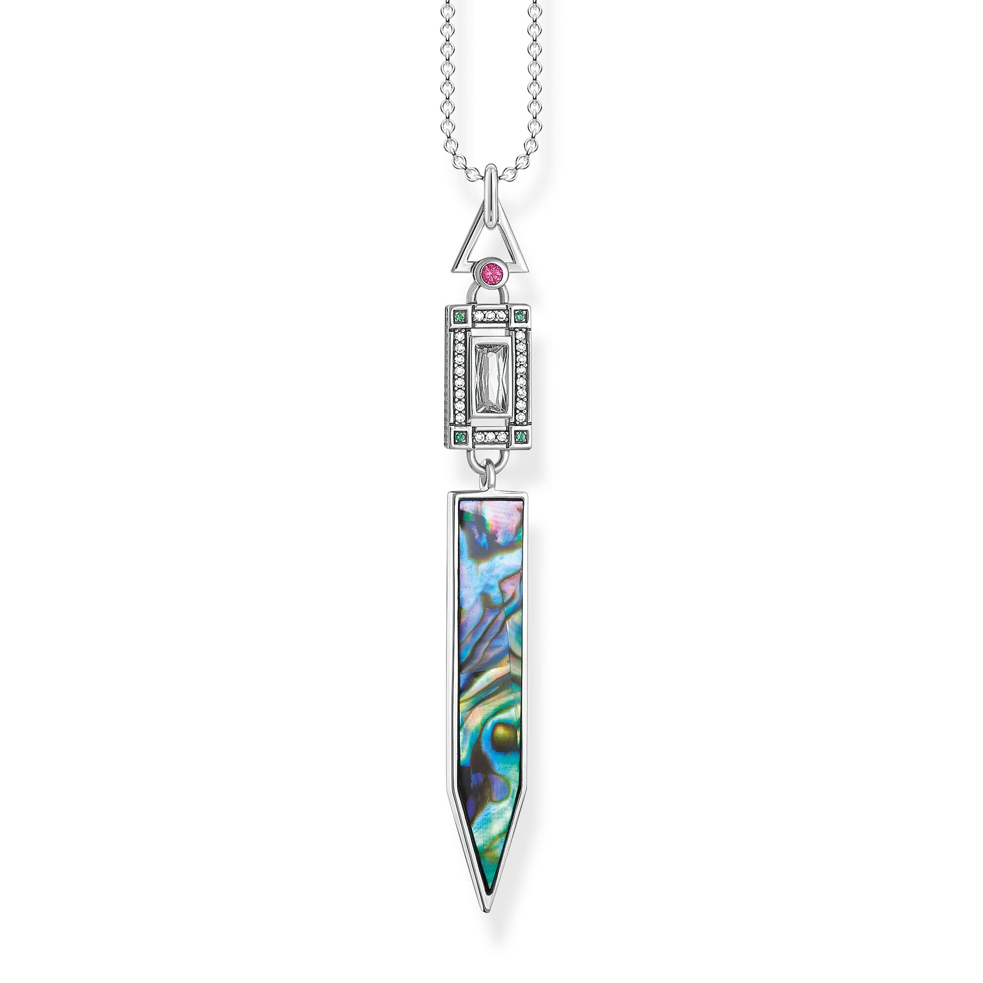 STERLING SILVER ART DECO ABALONE NECKLACE 45-50CM