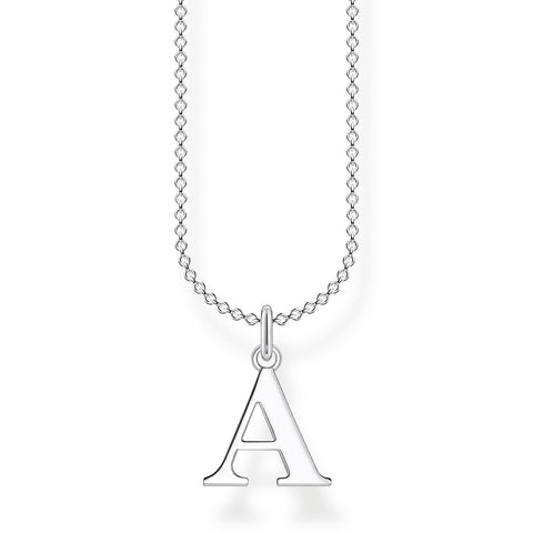 STERLING SILVER CHARMING COLLECTION LETTER 'A' NECKLACE 38-45CM